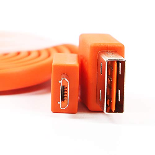 FEIYIU USB Micro Fast Charging Charger Cable Cord Compatible with for JBL Flip 2 Flip 3 Flip 4 Wireless Bluetooth Speaker and Earphone Headphone (3.3ft - Orange)