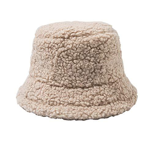 Wintermütze Bucket Hat für Damen/Mädchen, Mode Fischerhüte Warm Baumwolle Pelz Unisex Faltbar Anglerhut, Zum Einkaufen Wandern Camping Reisen Angeln, Geschenk 53-58cm