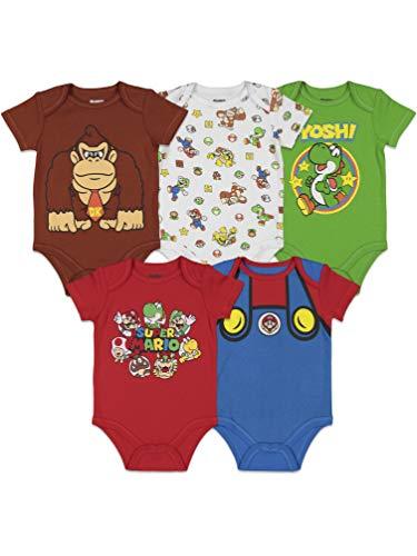 SUPER MARIO Nintendo Baby Boys 5 Pack Bodysuits 3-6 Months