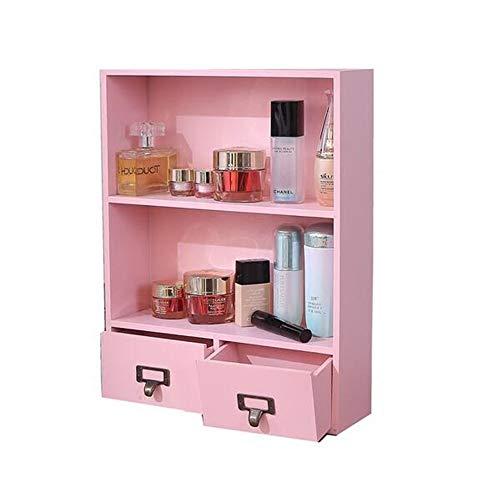 QYL houten ladekast plank tafelblad cosmetische opbergdoos, muur opknoping opslag Display Rack 3 lagen 2 lades voor woonkamer badkamer