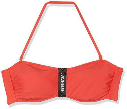 Calvin Klein Damen Zip Bandeau-RP Bikinioberteil, Rot (Bittersweet 600), 38 (Herstellergröße: M)