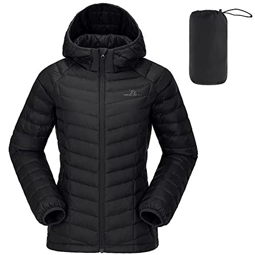 CAMEL CROWN Damen Daunenjacke Packable Quilted Coat Winddicht Steppjacke Wintermantel Daunenmantel Warme Jacke mit Kapuze Tasche für Freizeit Sport Reisen*