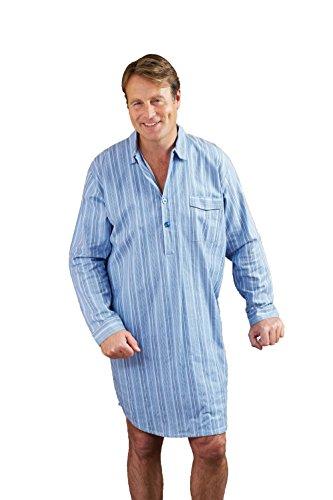 Herren Champion Gekammte Baumwolle Gestreiftes Nachthemd (Blau) 5XL