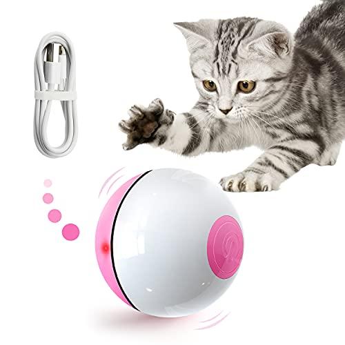 IPORLEER Katzenspielzeug Elektrisch Ball Interaktives Spielzeug für Katzen mit rotem LED-Licht, Automatisch 360 Grad Selbstdrehend Ball & USB Wiederaufladbar, Katzenspielzeug für Haustiere