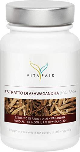 Estratto di Ashwagandha - 1650mg per Porzione - 90 Capsule - 7% di Withanolide = 115,5mg - Alto Dosaggio Estratto 6:1 - Vegano - Senza Sali di Magnesio