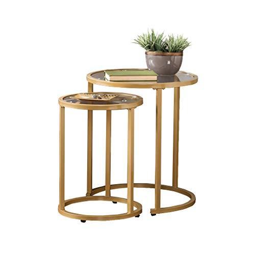 AJZXHE Table basse ronde, table de loisirs en fer forgé verre transparent Bureau simple (Couleur : C)