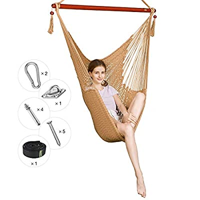 Greenstell Large Caribbean Hammock Hanging Chair with Hanging Kits and 150cm Strap,Swing Chair Comfortable Durable,100% Soft-Spun Polyester,for Indoor,Outdoor,Home,Patio,Yard,Garden 48 Inch (Cream)