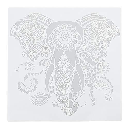 TreeLeaff Wiederverwendbare Schablonen, Mandala-Schablonen, Malvorlage, Malschablone für DIY Kleidung, Wände, Kunst Scrapbook Elefant