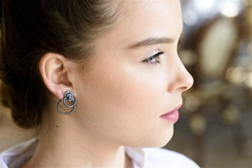 Handmade design of a Pair of Sterling silver Hamsa Ear Jackets earrings Jacket and stud