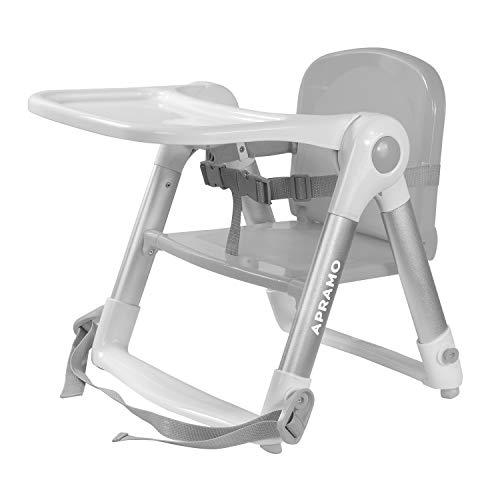 APRAMO FLIPPA Sitzerhöhung Faltbarer Boostersitz Kindersitz mit Tablett ab 6 Monate bis 3 Jahre (Grau)