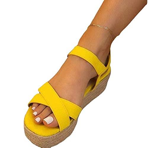 Fnho Cómodos Sandalias de Plataforma para,Sandalias de Plataforma con Correa en para Mujer,Sandalias Casuales de Fondo Grueso, Sandalias Retro de Cuerda de Gato-Amarillo_43