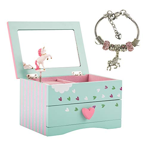 Amitié Lane Unicorn Jewelry Box for Girls - Two Unicorn Gifts for Girls Including Green and Pink Unicorn Music Box and Unicorn Charm Bracelet