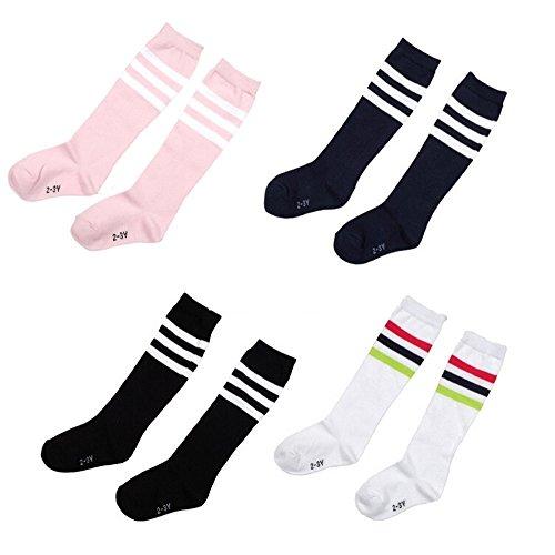 FSSTUD 4 Paar Kinder Baby Streifen Kniestrümpfe Knie hoch Fußball Socken Fußballsocken für Jungen Mädchen 4-5 Jahre alt
