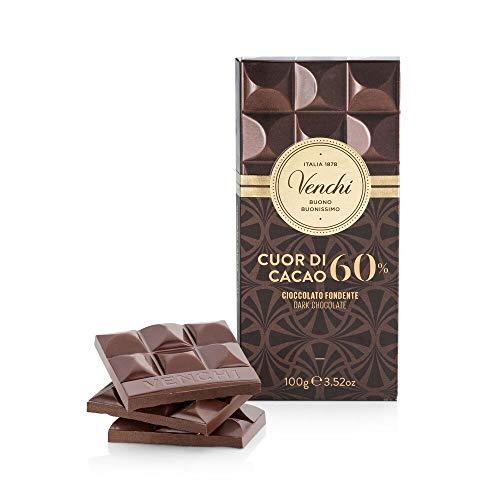 Venchi Tavoletta Cuor di Cacao 60%, 100g - Cioccolato Fondente - Senza Glutine