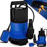 MASKO® Schmutzwasserpumpe Tauchpumpe 400 W 8.000 l/h max. Förderhöhe 9m Fremdkörper Schwimmerschalter Wasserpumpe Tauchdruckpumpe Brunnenpumpe Gartenpumpe, Blau