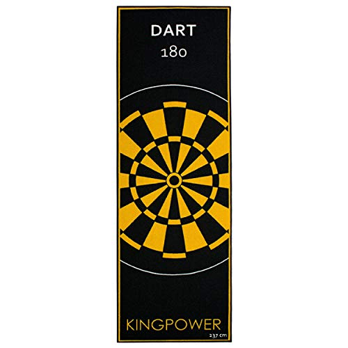 Kingpower Dart Teppich Target Oche Matte Steeldart Dartpfeile Dartboard Zubehör Dartteppich Darts Abwurflinie Schutz Gummi Boden Dartscheibe Gelb 237 x 80 cm