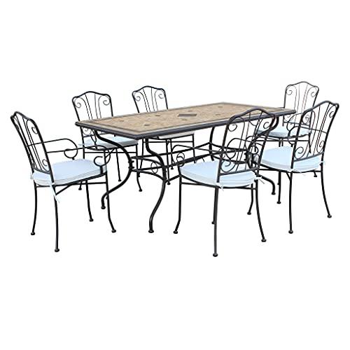 Set Tavolo Giardino Fisso Con Piano In Mosaico 160 X 90 Con 6 Sedie In Ferro Per Esterno (rettangolare + 6)