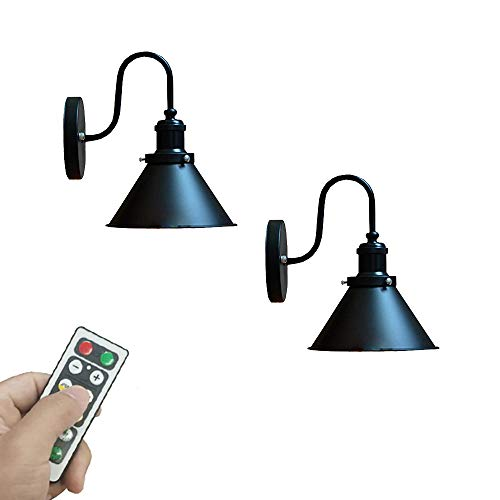 KAYYELAMP 2-Pack 100 Lumens Led Remote Control Battery Run Cordless Lamp Retro Wall Sconce Light Fixture for Bedroom Bathroom Loft Wall Decor- Easy Installation, Dimmable Control,Battery Not Included