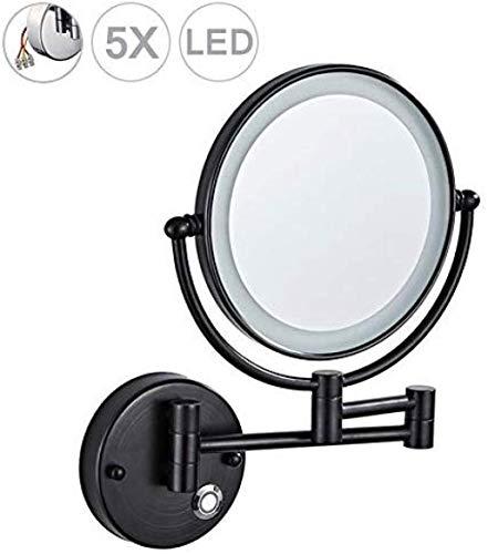 Générique Miroir grossissant avec éclairage LED Miroir grossissant éclairé Contre Le Mur Miroir grossissant Plateau 1x / 5X Interrupteur Tactile pivotant à 360 °