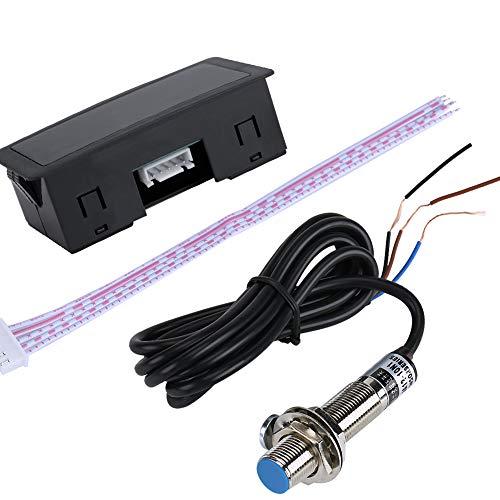 Hilitand Tacómetro de RPM, medidor de RPM del Motor del tacómetro de la Pantalla LED de 12 V de 4 dígitos + Sensor de Interruptor de Pasillo NPN