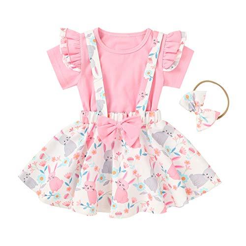 YQYJA Happy Easter Ropa de bebé Fly manga corta camisa conejito correa falda Pascua ropa 3pcs Set