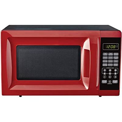 700W Kitchen timer/clock Output Microwave Oven 0.7 cu ft, Red