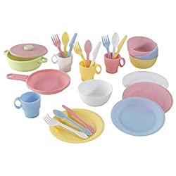 A COMPLETE FOOD SET - This dinner and cookware set is what your kid's kitchen play set needs for hours of creative play. It includes a complete service for 4 (knives, spoons, forks, plates, cups, bowls) and 1 pot, 1 pan and 1 lid. Be it dinner or a t...