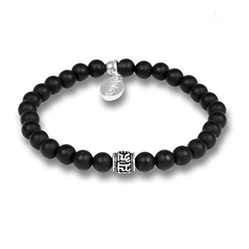 Anisch de la Cara Hombre Pulsera Little Onyx - Pulsera de Piedras Preciosas con Cuentas de Mantra para Hombre con Plata de Ley, 6 mm Mantra Beads - Arte no 93360-c.1