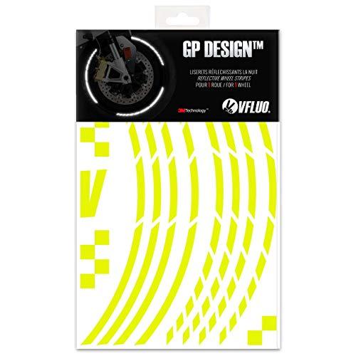 VFLUO GP Design™, Kit de Cintas, Rayas Retro Reflectantes para Llantas de Moto (1 Rueda), 3M Technology™, Anchura XL : 10 mm, Amarillo Fluorescente