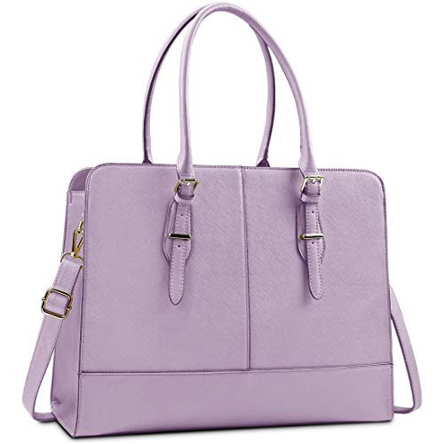 Lubardy Laptop Bags for Women 15.6 inch Ladies Leather Laptop Handbag Work Handbags Womens Tote Bag Office Purple