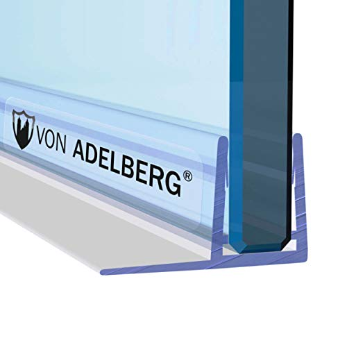 VON ADELBERG Duschdichtung Wasserabweiser Gerade PVC Ersatzdichtung für Dusche Typ: VA004-10 - Länge: 40 bis 200 cm - Glasstärke: 5, 6, 7, 8, 9, 10, 11, 12 mm, Dichtung Länge:80 cm, Glasstärke:6 mm