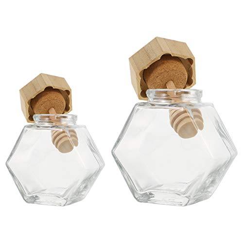 BESTOYARD ハニーポット ガラス瓶 蜂蜜容器 六角形 ハニーディスペンサー 透明 ハニー撹拌棒付 キッチン 保存容器 2本入(100ml+220ml)