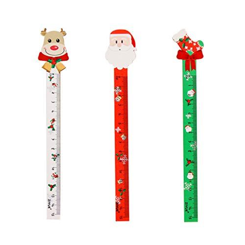 STOBOK righelli di Legno di Natale segnalibri Personaggio di Natale righelli Calza di Renna Righello Dritto Strumento Piccolo Regalo di Natale / 3 pz