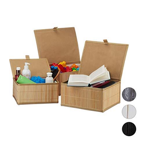 Relaxdays Aufbewahrungskorb 3er Set, mit Deckel & Stoffeinsatz, Bambuskorb, dekorative Aufbewahrungsbox, 3 Größen, natur