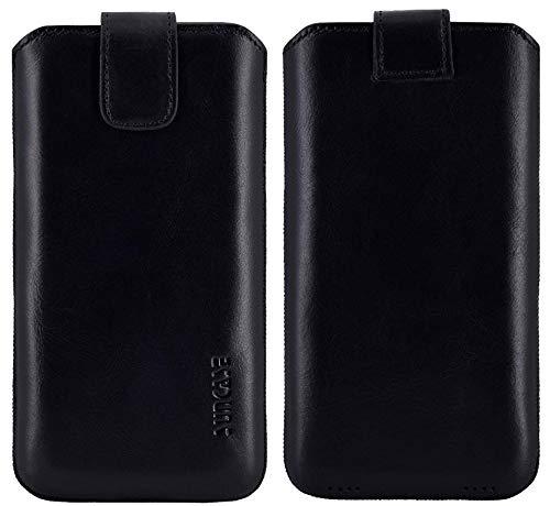 Suncase ECHT Ledertasche Leder Etui kompatibel mit Samsung Galaxy XCover 4s Hülle Tasche Schutzhülle (mit Rückzugsfunktion & Magnetverschluss) in schwarz