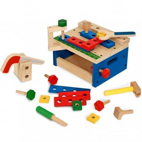 Jouet imitation petit établi en bois 31 pcs outils écrous pour enfants 3 ans +