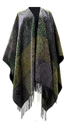 Biddy Murphy Women's Ruana Wool & Chenille Celtic Designs Louden Green from Scotland