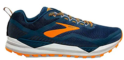 Brooks Cascadia 14, Zapatillas para Correr para Hombre, Poseidon/Orange/Grey, 45.5 EU