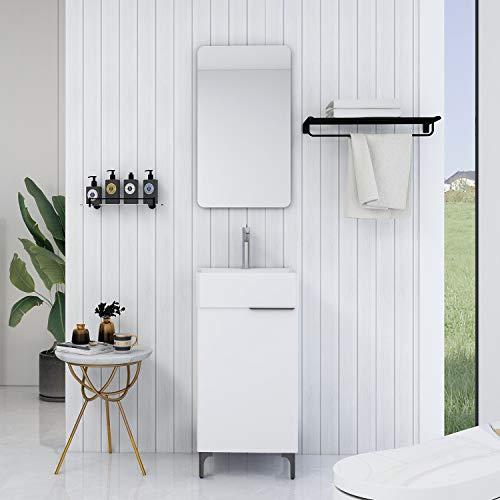 XINKROW Badmöbel Komplett Set, Bademöbel Waschtisch, Badezimmer Möbel für Kleine Bäder, Gäste WC Waschbecken mit Unterschrank 46x42cm, Waschbeckenunterschrank, Weiß Hochglanz, Badspiegel