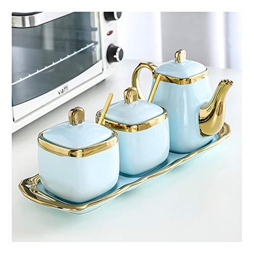 Keramik-Öl-Essig-Flaschen-Spender-Set, Essig- und Essigflaschenspender mit Deckel, für Küche, Kochen, Party, Buffet, staubdicht, Aufbewahrungsdose, KSGH (3 Set), Blau