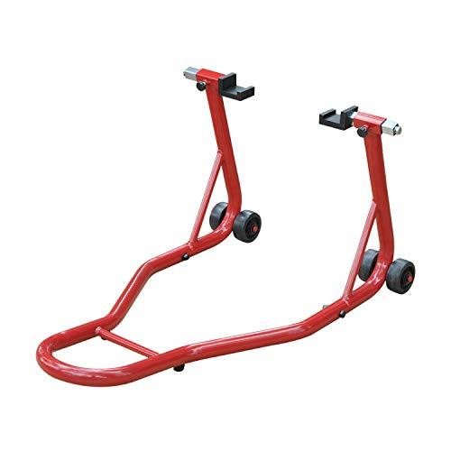 HOMCOM Caballete de Moto Soporte Posterior Universal Portátil y Móvil Tipo Elevador con 2 Horquillas y Ruedas 80x50x40cm Color Rojo y Material de Acero
