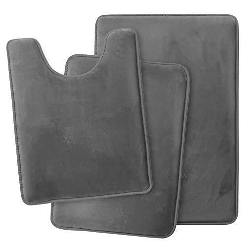 Clara Clark Bathroom Rugs, Ultra Soft Non Slip and Absorbent, Velvet Memory Foam Bath Mat. Set of - 20 x 32 / 17 x 24 / 19 x 24, Grey