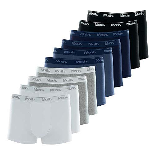 Kit 10 Cuecas boxer Boxer, Mash, Masculino, Branco/Preto/Cinza/Azul, G