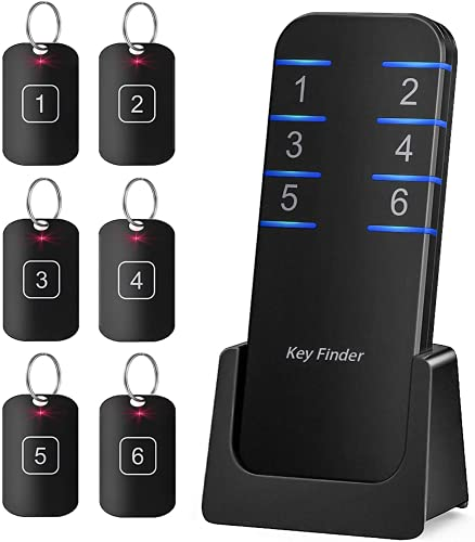 Key Finder, Stick on Remote Finder Locator   6 Pack Key Finders That Make Noise, 95dB Beeper RF Wireless Wallet Car Key and TV Remote Control Finder   Item Remote Tracker for Wallet Phone and Glasses