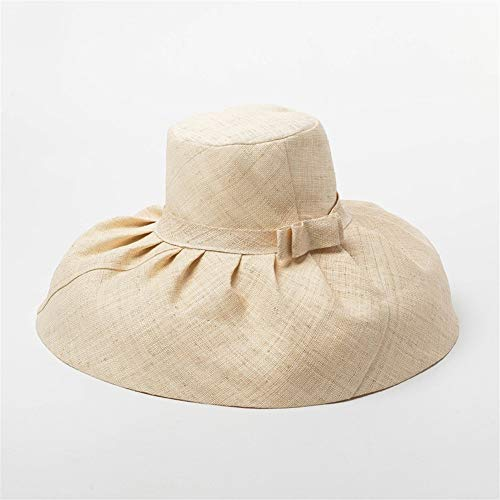 LHQ-HQ Retro Temperament Elegant Lafite Pleated Bow Large Basin-shaped Hat Top Party Ladies Straw Hat (Color : Beige, Size : M)