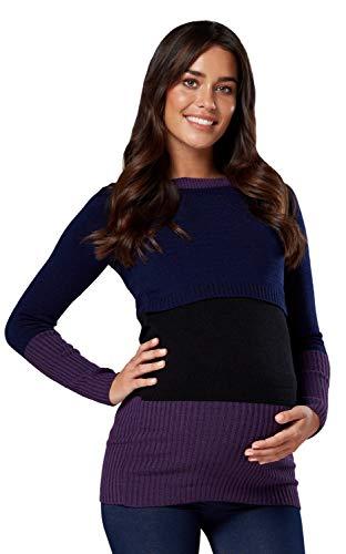 HAPPY MAMA. Mujer Maternidad Prendas Punto Acanalado Cuello Redondo 451p (Navy & Black, 40-42, L/XL)