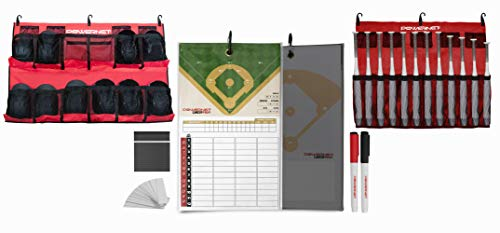 PowerNet Ultimate Coaching Team Bundle | Magnetic Lineup Board | Hanging Helmet Organizer | Fence Caddy for 12 Bats (Red)