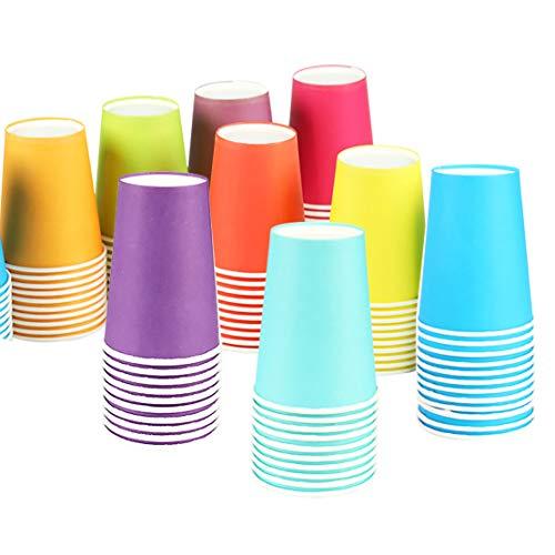 Einweg Pappbecher 50 Stück, 250 ml Bunt Partybecher Biologisch Abbaubar für Hochzeit,Kinder DIY, Partybedarf