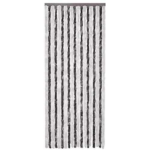 90 x 220 cm Kette Vorhang aus Chenille Polypropylen Türvorhang, Insektenschutz, Vorhang für Wohnzimmer, Schlafzimmer, einfache Installation, grau und weiß