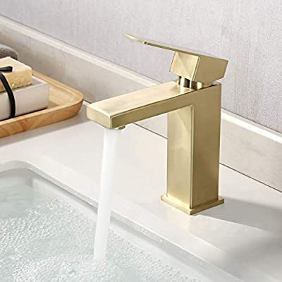 KES Bathroom Sink Faucet Single Hole Modern Vanity Faucet One Handle SUS304 Stainless Steel Rustproof Brushed Brass Finish, L3156ALF-BZ